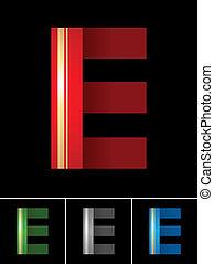 La letra ABC de la letra E de papel de colores