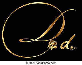 La letra D de oro