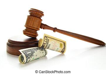 La ley dio en efectivo, aislado en blanco