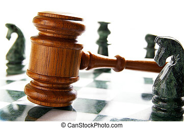La ley dio en un tablero de ajedrez con piezas