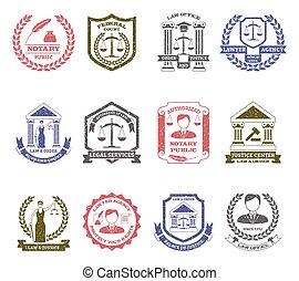 La ley y el orden de los sellos de logo