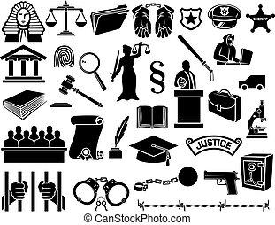 La ley y los iconos de la justicia establecidos
