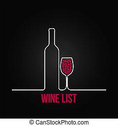 La lista de vasos de vinos de diseño de fondo del menú
