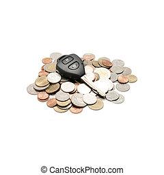 La llave del coche en la moneda