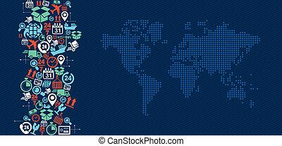 La logística del mundo de los iconos de mapas salpica la ilustración.