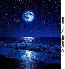 La luna en el cielo estrellado en el mar