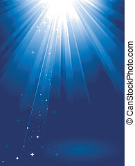 La luz azul estalla de estrellas