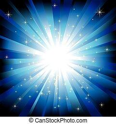 La luz azul reventó con estrellas brillantes