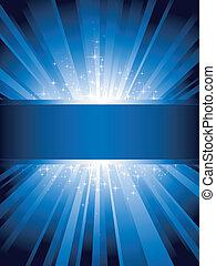 La luz azul vertical estalla con estrellas y espacio de copia