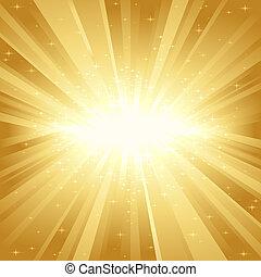 La luz dorada estalla de estrellas