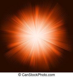La luz naranja rebosa de estrellas brillantes. EPS 8