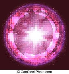 La luz rosa estalló fondo de explosión, con rayos y líneas transparentes. Vector
