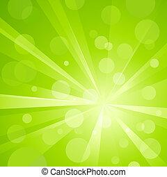 La luz verde estalló con luz brillante