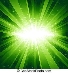 La luz verde estalla de estrellas