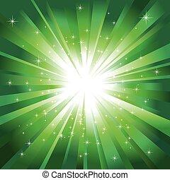 La luz verde reventó con estrellas brillantes