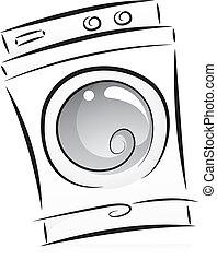 La máquina de lavar en blanco y negro