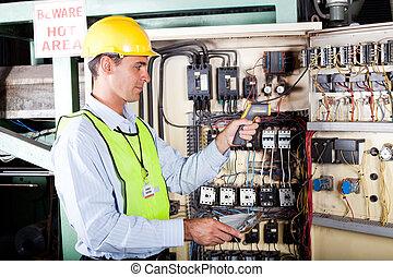 La máquina eléctrica de control industrial