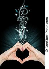 La magia del amor, las manos de la forma del corazón