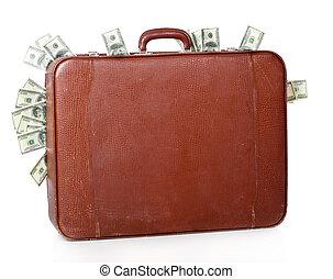 La maleta está llena de dinero