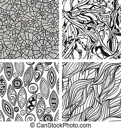 La mano abstracta del vector ha dibujado patrones monocromos