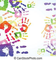 La mano colorida imprime el fondo