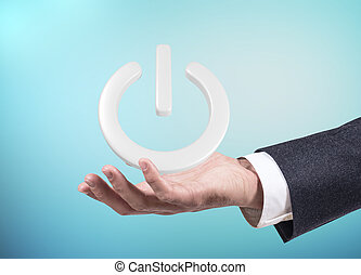 La mano de empresario presenta botón de encendido. 3D