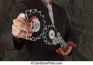 La mano de los hombres de negocios muestra el concepto del éxito