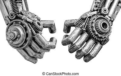 La mano de un cibernético metálico o un robot hecho con tornillos mecánicos y nueces
