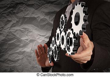 La mano de un empresario muestra velocidad al concepto de éxito