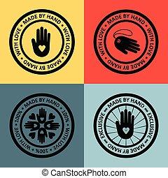 La mano de Vector hizo etiqueta en el esquema de moda.
