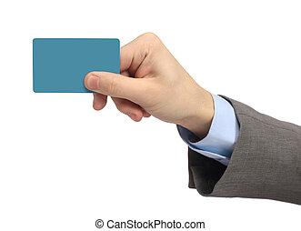 La mano del hombre muestra una tarjeta