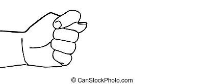 La mano del vector Silueta en el fondo blanco