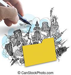 La mano dibuja la carpeta de los viajes en el mundo como concepto de éxito