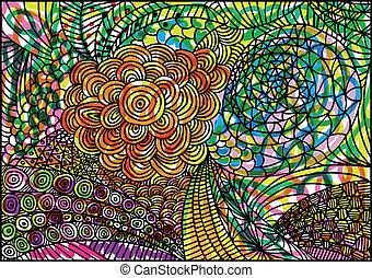 La mano dibuja un fondo abstracto. Ilustración del vector