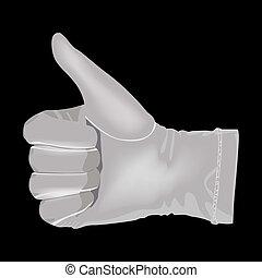 La mano en un guante blanco muestra una simbola