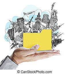 La mano muestra la carpeta de viajes en sueños
