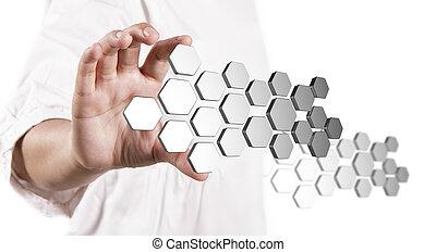 La mano muestra tres botones abstractos