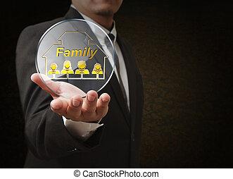 La mano muestra un icono pixel de 3D como concepto
