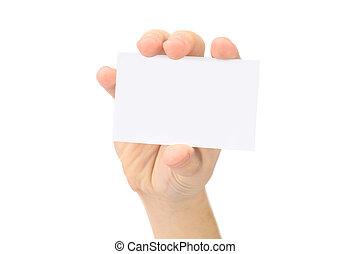La mano muestra una tarjeta de negocios en blanco. Encendido