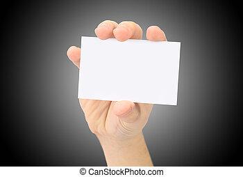 La mano muestra una tarjeta de negocios en blanco