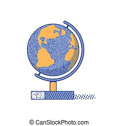 La mano plana del mundo dibujada por vectores color icono