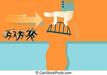 La mano pone el puente