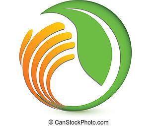La mano que protege el logo ambiental