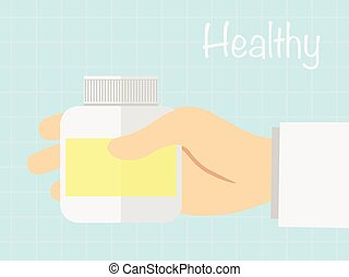 La mano sosteniendo la botella de medicina para leer la etiqueta, el concepto de curandera
