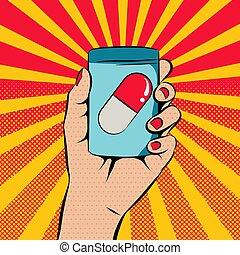 La mano sosteniendo una botella de medicina al estilo pop