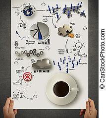 La mano tiene 3 tazas de café en el diagrama de estrategia de negocios