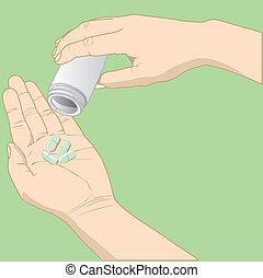 La mano tiene un vector de medicina
