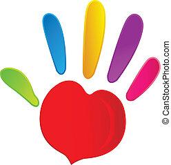 La mano y el corazón en colores vívidos