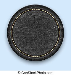La marca de cuero redondo. Una etiqueta negra realista.