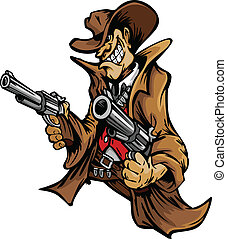 La mascota de dibujos animados de vaqueros apuntando armas